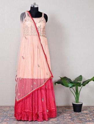 Pink raw silk weddig wear anarkali suit