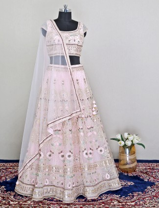 Pink raw silk wedding lehenga choli for pretty women