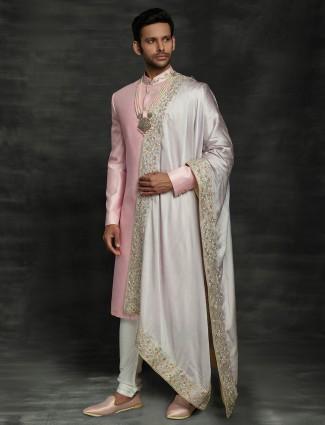 Pink raw silk wedding wear sherwani