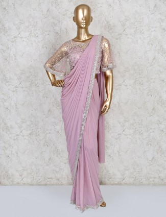 Pink ready to wear saree in net fabric