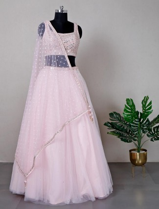 Pink reception wear lehenga for women