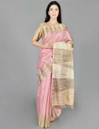 Pink Saree in Silk with readymade blouse