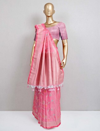 Pink semi banarasi silk saree for festive session
