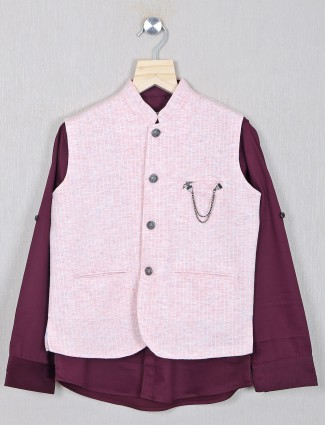 Pink shade party wear waistcoat for boys