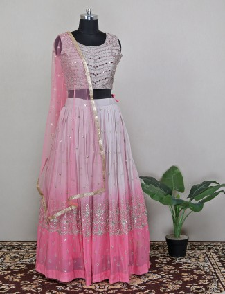 Pink shaded effective lehenga choli in georgette