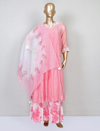 Pink sharara suit for wedding in cotton