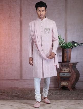 Pink silk chikan work sherwani wedding special