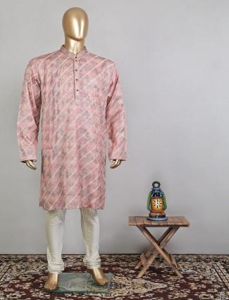Pink silk festive wear designer kurta suit