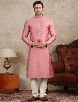 Pink silk kurta suit festive wear