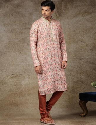 Pink silk printed kurta suit festive wear