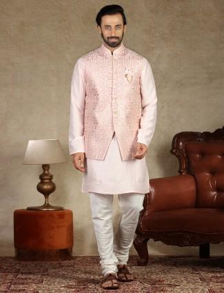Pink silk waistcoat set for men