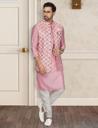 Pink silk waistcoat set special for festive days