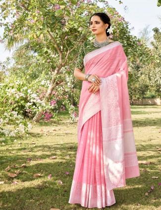Pink soft linen saree