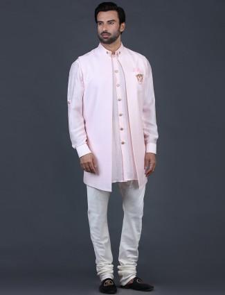 Pink solid cotton silk waistcoat set