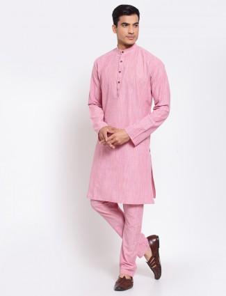 Pink solid style cotton kurta set for men
