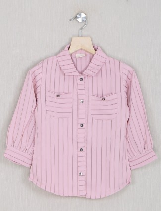 Pink stripe style georgette top for girls