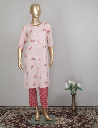 Pink stunning cotton casual wear pant suit