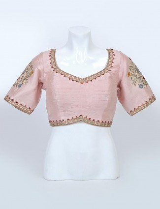 Pink sweetheart neckline readymade blouse