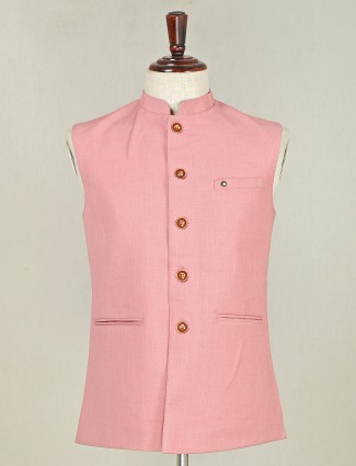 Pink terry rayon designer waistcoat for mens