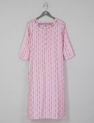 Pink thread and aabla decorated casual kurti