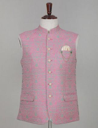 Pink thread woven silk waistcoat for mens