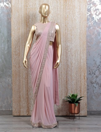 Pink tint imported lycra ready to wear saree with ready made blouse