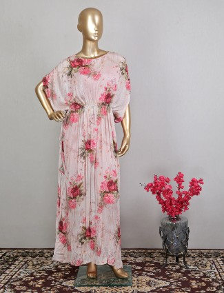 Pink tint printed georgette pant suit for party session