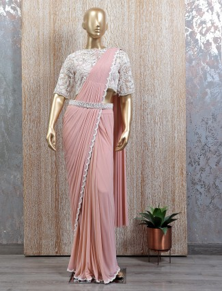 Pink tint ready to wear saree with readymade blouse
