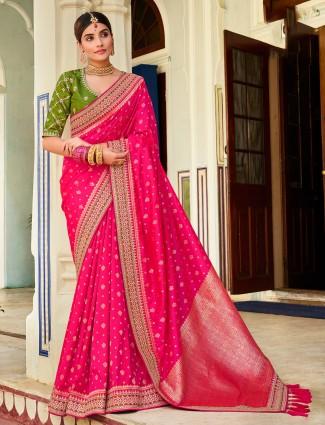 Pink wedding events silk saree for women