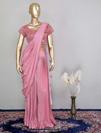 Pink wedding look ready to wear saree in georgette