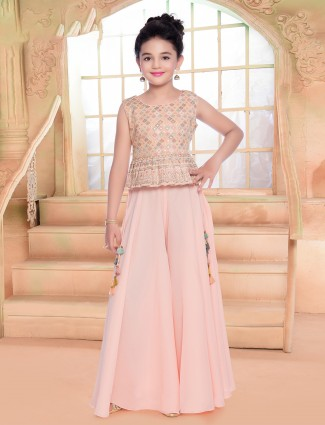 Pink wedding occasions palazzo suit in georgette