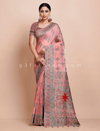 Pink wedding pashmina silk saree