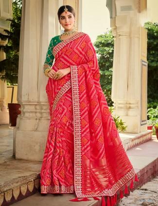 Pink wedding wear bhandhej saree for women