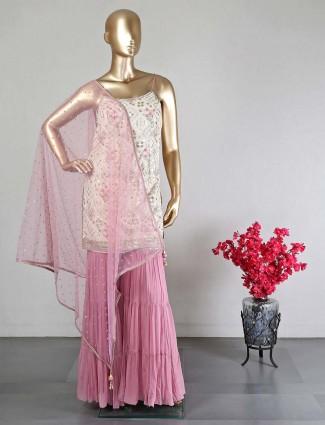 Pink wedding wear georgette sharara suit