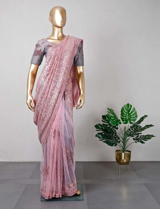 Pink wedding wear net saree for women