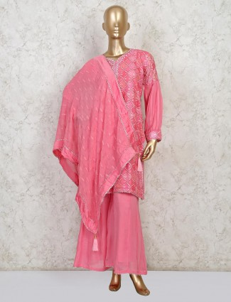 Pink wedding wear palazzo suit in cotton
