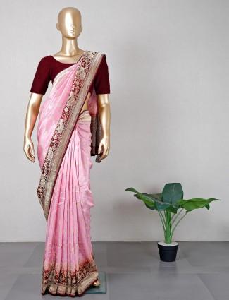Pink wedding wear women saree in silk
