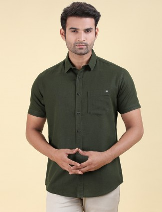 Pioneer dark green solid slim fit shirt