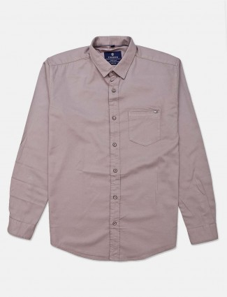 Pioneer grey solid mens cotton shirt