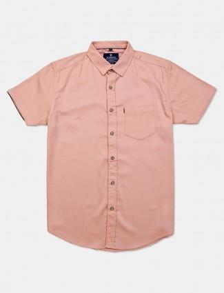 Pioneer peach solid cotton shirt