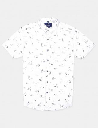 Pioneer white printed casual wear shirt