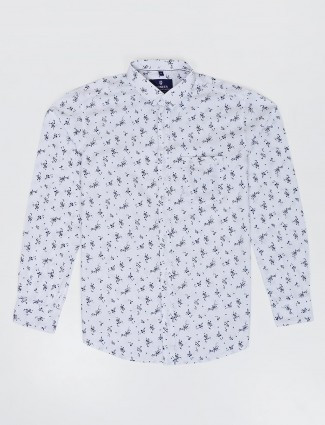 Pioneer white printed slim fit cotton shirt