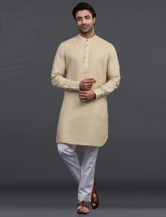 Beige linen full sleeeves kurta suit