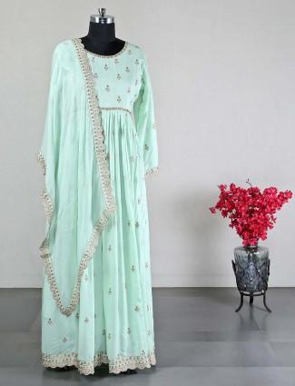Pista green anarkali suit for wedding