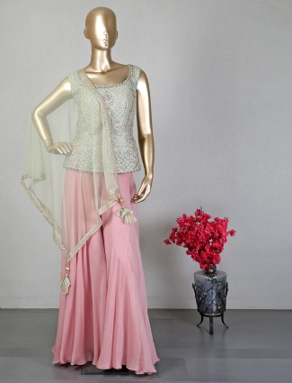 Pista green and pink indowestern suit