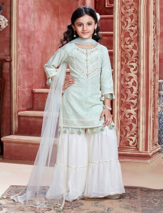 Pista green and white sharara suit for wedding sessions