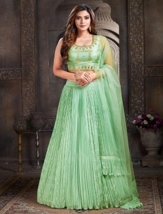 pista green attractive wedding events georgette lehenga choli