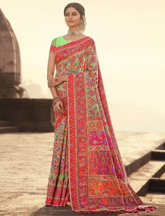 Pista green banarasi kora silk wedding events saree