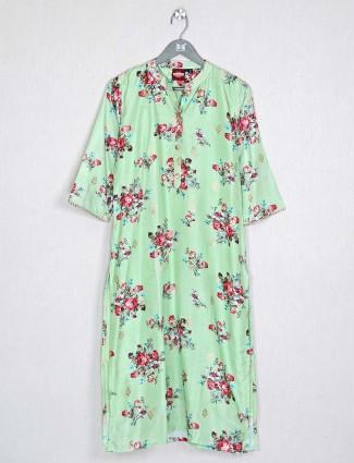Pista green casual look kurti in cotton