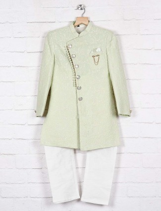 Pista green chinese neck indo western
